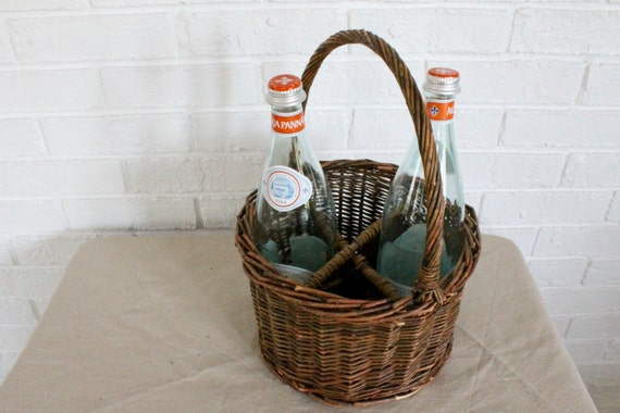 Divided wicker basket with glass bottles - Divided wicker basket ...