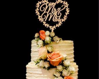 Wedding Cake Topper Heart Mr Mrs Rustic Cake Topper