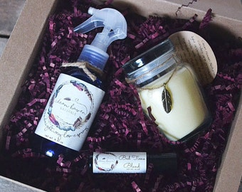 Relaxation Gifts Set - Soy Candle - Essential Oil Roll On - Aromatherapy Lavender Spray - Lavender Gifts - Essential Oils - Chemical Free