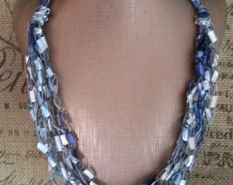 Crocheted Ladder/Ribbon Yarn Necklace in shades of Blue