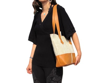 Hemp Tote Bag Eco-friendly Organic Fabric Bag Leather Trim