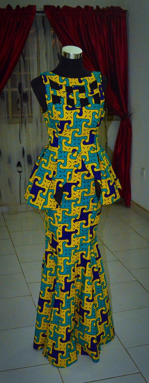 African Print Dinner Dress Floor Length African Clothing