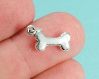 Sterling Silver Dog Bone Bracelet Charm, Puppy, Doggy, Pendant, .925, DIY, (CHARM005)