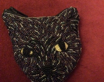 Beaded black cat coin purse
