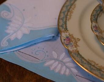 Robin's Egg Blue Mats/Napkins, Vintage Linen Embroidered Appliqued, Madeira, 6 Placemats 6 Napkins