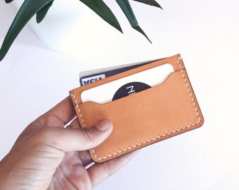 Leather cardholder, ALMOND color