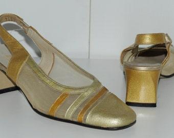 Vintage golden shoes ELODIE Size 37