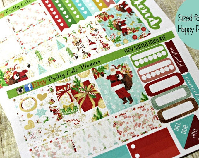 Happy Planner Stickers - Christmas Planner Sticker Set - Erin Condren Life Planner - Day Designer - Functional stickers - Hey Santa