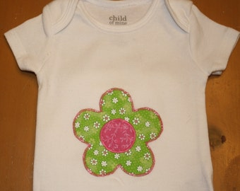 Flower Appliqúe Onesie