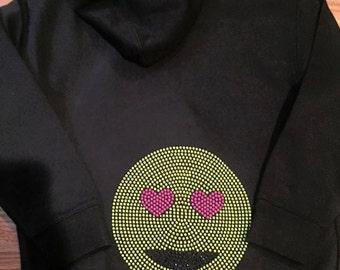 Bling Rhinestone Neon Emoji Zip Up Hoodie