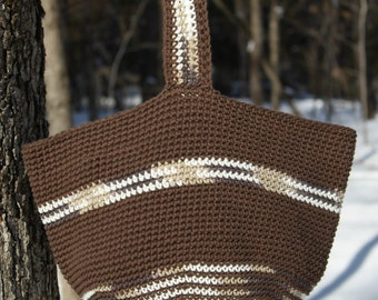 Brown Bucket Bag, Crochet Tote Bag, Shoulder Tote Bag, Eco-Friendly Bag, Crochet Market Bag