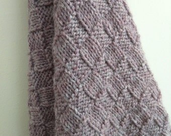 Hand-knitted 100% Australian wool small blanket/throw/baby blanket: Dusty lilac/purple