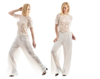 White Wide leg pants, Wide leg trousers, culottes