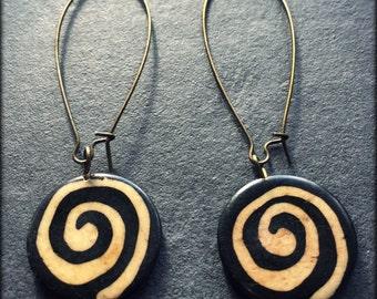 Black swirl earrings