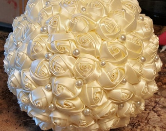 Pearl Wedding Bouquet - Silk Ribbon Flower Ivory Bridal Bouquet with Pearl Accents