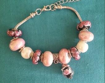 Pink Petals and Pearls European Pandora Style Bracelet