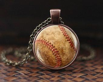 Baseball pendant, Baseball Necklace,  Baseball Sport Jewelry, mens necklace, Baseball player, Team Mom Baseball Gift, Baseball Fan Gift