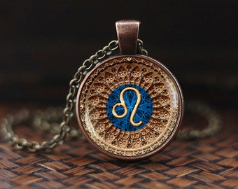 Leo Zodiac Necklace, Leo Pendant, Leo Zodiac Jewelry, Leo constellation Necklace, Leo Zodiac Sign, Astrology Necklace, m125