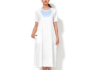 "White Midi Dress - Short Sleeves Dress - Summer Cotton Dress - Galabiya Printed Dress - Urban Casual Plaid Dress - Women Clothing - ""Gala"""