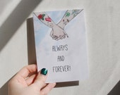 Always and forever! Tattoo greetings card, traditional tattoo card