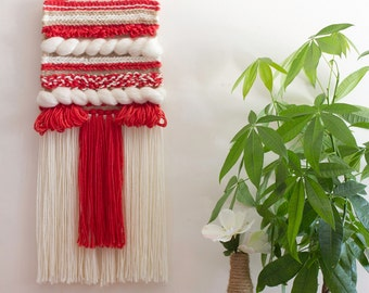 Wall Hanging Weaving // Tapestry, handwoven, coral, wall art, fibre art