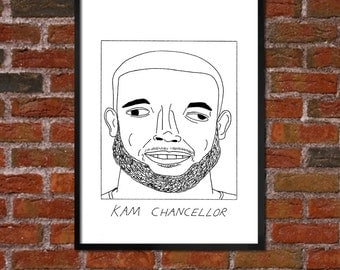 Badly Drawn Kam Chancellor - Seattle Seahawksposter / print / artwork / wall art
