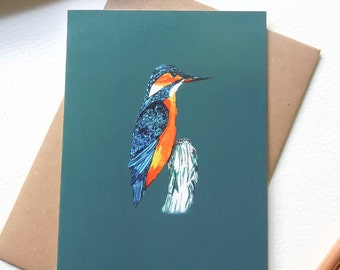Greetings Card - Blank Card - Kingfisher - Bird Card - Birthday card - designed & printed in the UK