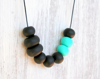 Turquoise accent statement necklace/ charcoal grey and mint beads / handmade polymer clay beaded necklace / unique gift