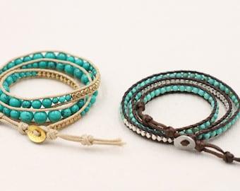 Turquoise wrap bracelet, Gemstone Bracelet, Blue gemstone bracelet, beaded wrap bracelet, Three strand bracelet, Bohemian bracelet