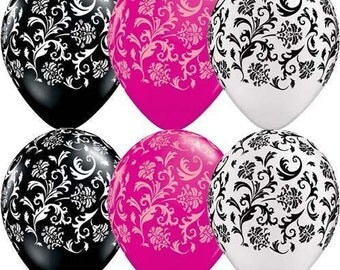 Damask  11 inch Latex Balloons,  weddings, engagement, bridal, baby shower, birthdays party decorations