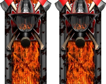 FireFighter Face Shield Flames Truck Bed Band Race Stripes Decal Sticker Graphics