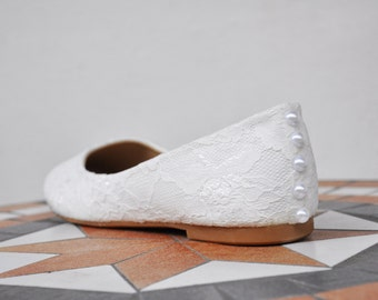 Lace wedding flats ballet flats white lace bridal flats lace wedding flat shoes embellished shoes white wedding shoes french lace shoes