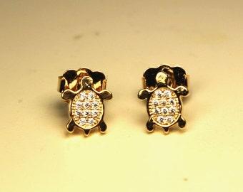 Golden stud earrings turtle neat cubic zirconia sparkle bridesmaid jewelry