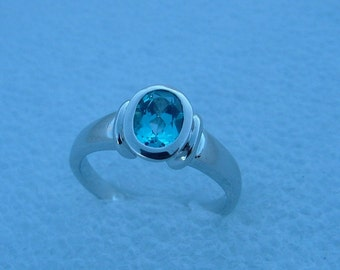 Sale-Blue Topaz and white gold ring-gold ring-topaz ring-white gold ring with blue topaz