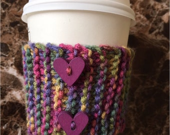 coffee cozy with heart buttons