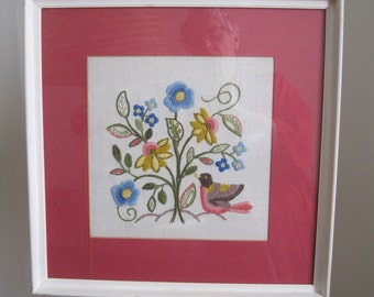Blue Floral with Bird Crewel Embroidery Framed Wall Hanging, Vintage