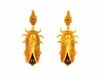 Cicada earrings Cicada jewelry filigree gold earrings 24K Gold plated red stones vintage earrings beetle earrings insect jewelry Cicadas