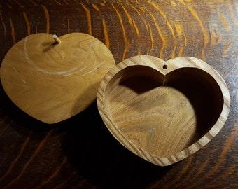 Heart-Shaped Wooden Keepsake Box