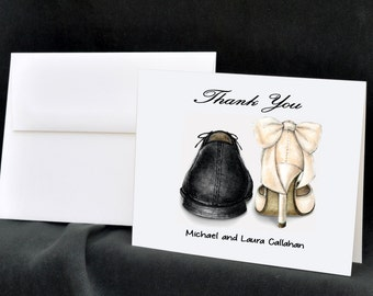 Wedding Shoes Personalized Note Cards Stationery Thank You Cards Bride Groom Shoes Bridal Heels