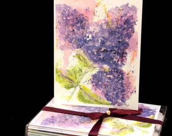 Lilac Love Original Watercolor PRINT Note Card Set, Watercolor Cards, Watercolor Lilacs, Lilac Cards, Birthday Cards, Thinking of you