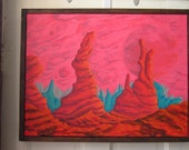 Red Moon, acrylic sci fi / fantasy painting, golden age illustration inspired landscape