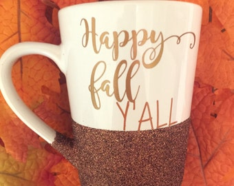 Fall Mug, Coffee Mug, Autumn Coffee Mug, Happy Fall Yall, Fall Coffee Mug, Halloween, Autumn Gift, Coffee Mug, Glitter Coffee Mug, Fall Gift