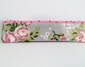 Slim Pencil Case - Plastic Coated Fabric Pencil Case / Shabby Chic / Vintage Slim Pencil Case/ Cabbage Rose Pencil Case