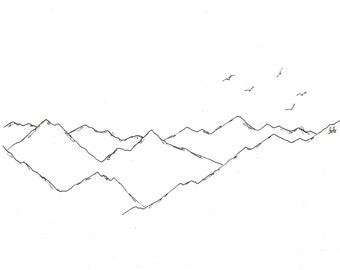 Original mountain sketch; mountain landscape in ink; mountain drawing, A5 size, minimalist style.