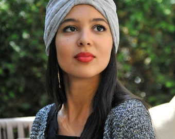 The light grey lace Turban