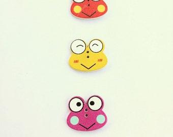 Cute Frog Button - Wooden Buttons - Scrapbook Buttons - Craft Supplies Embellishment - Flat Back Buttons - Shankless Buttons - Animal Button