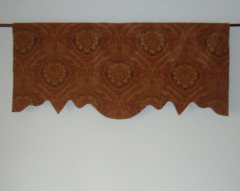 Antique Woven Scalloped Valance, Lined