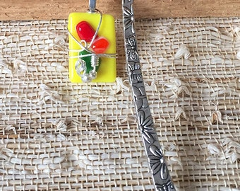 Yellow Colorful Fused Glass Bookmark