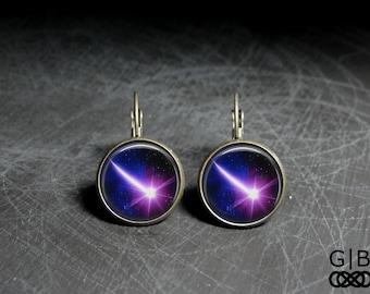Shooting Star Earrings Purple Star Dangles Jewelry - Shooting Star Jewelry Earrings - Purple Star Earrings Bright Purple Earrings Dangles
