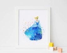 Cinderella print Disney Princess Watercolor, Cinderella Art Cinderella Print, Cinderella Wall decor, Cinderella Watercolor Cinderella Poster